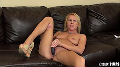 Aria's body trembles with delight as she slides every inch of that dildo in her cunt