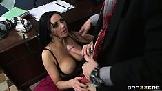 Rich gentleman Johnny thrusts his mighty cock between gal's big knockers