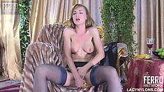 Wild blonde Rosa caresses her boobs and pleases herself with a banana